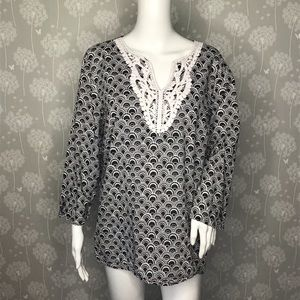 Talbots Tunic Size Large Black White Pullover